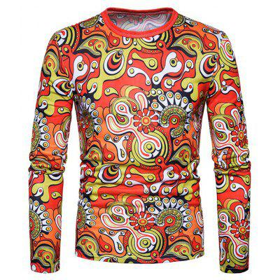 Flowers Motifs Long Sleeves T-shirt