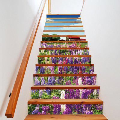 3D Effect Flower Stair Sticker Escalera Decal Mural Set