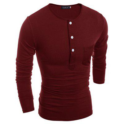 Round Neck T-shirtMens Long Sleeves Tees<br>Round Neck T-shirt<br><br>Material: Cotton, Polyester<br>Neckline: Round Neck<br>Package Content: 1 x T-shirt<br>Package size: 30.00 x 20.00 x 2.00 cm / 11.81 x 7.87 x 0.79 inches<br>Package weight: 0.2300 kg<br>Product weight: 0.2100 kg<br>Season: Spring, Autumn<br>Sleeve Length: Long Sleeves<br>Style: Casual