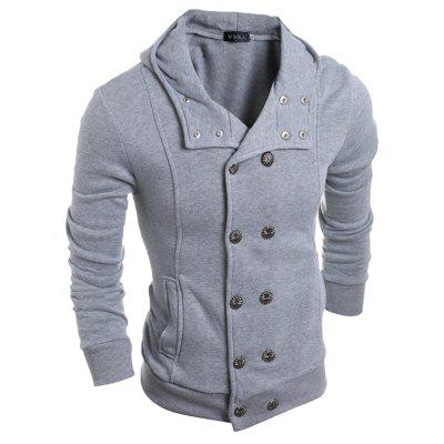 Double Breasted Hooded JacketMens Hoodies &amp; Sweatshirts<br>Double Breasted Hooded Jacket<br><br>Closure Type: Button<br>Material: Cotton, Polyester<br>Package Contents: 1 x Jacket<br>Package size: 30.00 x 25.00 x 3.00 cm / 11.81 x 9.84 x 1.18 inches<br>Package weight: 0.4400 kg<br>Product weight: 0.4200 kg<br>Style: Casual<br>Thickness: Regular