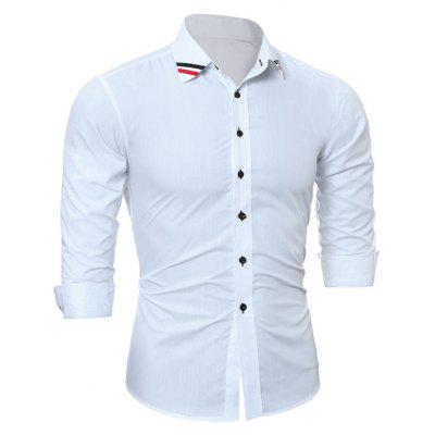 Fashion Long Sleeve Shirt with Striped Motifs CollarMens Shirts<br>Fashion Long Sleeve Shirt with Striped Motifs Collar<br><br>Closure Type: Button<br>Material: Cotton, Polyester<br>Package Contents: 1 x Shirt<br>Package size: 30.00 x 25.00 x 2.00 cm / 11.81 x 9.84 x 0.79 inches<br>Package weight: 0.2300 kg<br>Product weight: 0.2100 kg<br>Thickness: Regular