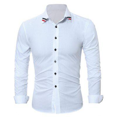 Fashion Long Sleeve Shirt with Striped Motifs Collar