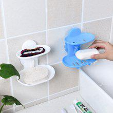 Bathroom Double Layer Strong Sucker Soap Box Dish Holder