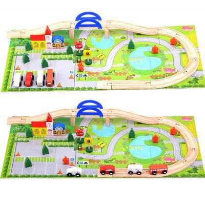 City Track Overpass Traffic Scene Combination Toy de madera 40PCS