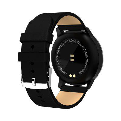NEWWEAR Q8 Smart WatchSmart Watches<br>NEWWEAR Q8 Smart Watch<br><br>Alert type: Vibration<br>Anti-lost: Yes<br>Band material: PU<br>Band size: 26 x 2cm<br>Battery  Capacity: 170mAh<br>Bluetooth Version: Bluetooth 4.0<br>Brand: Newwear<br>Built-in chip type: NRF52832<br>Case material: Alloy<br>Charging Time: About 2hours<br>Compatability: Android 4.4 / iOS 9.0 and above systems<br>Compatible OS: IOS, Android<br>Dial size: 3.9 x 3.9 x 1.01cm<br>Groups of alarm: 3<br>Health tracker: Blood Oxygen,Blood Pressure,Heart rate monitor,Pedometer,Sleep monitor<br>IP rating: IP67<br>Messaging: Message reminder<br>Notification type: QQ, WhatsApp, Wechat, Twitter, Skype, Line, Facebook<br>Operating mode: Touch Key<br>Other Function: Alarm, Bluetooth, Calendar, Waterproof<br>Package Contents: 1 x Smart Watch,  1 x USB Charging Cable, 1 x Chinese User Manual<br>Package size (L x W x H): 15.00 x 7.40 x 3.40 cm / 5.91 x 2.91 x 1.34 inches<br>Package weight: 0.1450 kg<br>People: Female table,Male table<br>Product size (L x W x H): 26.00 x 3.90 x 1.01 cm / 10.24 x 1.54 x 0.4 inches<br>Product weight: 0.0650 kg<br>RAM: 512MB<br>Screen: OLED<br>Screen resolution: 96 x 64<br>Screen size: 0.96 inch<br>Shape of the dial: Round<br>Standby time: 150 days<br>Type of battery: Polymer Lithium Battery<br>Waterproof: Yes