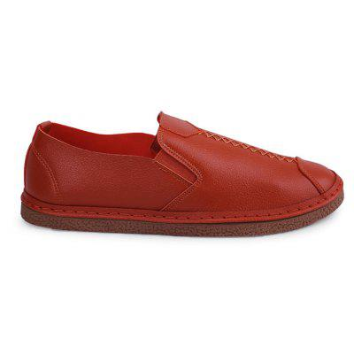Breathable Leisure Slip-on Lazy ShoesFlats &amp; Loafers<br>Breathable Leisure Slip-on Lazy Shoes<br><br>Contents: 1 x Pair of Shoes<br>Materials: Microfiber Leather, Rubber<br>Occasion: Casual<br>Package Size ( L x W x H ): 30.00 x 20.00 x 10.00 cm / 11.81 x 7.87 x 3.94 inches<br>Package weight: 0.6500 kg<br>Product weight: 0.6000 kg<br>Style: Casual<br>Type: Flat Shoes