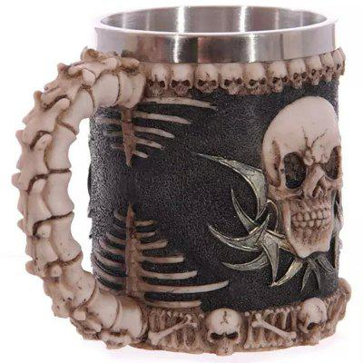 3D Skull Resin Stainless Steel Coffee Drink Mug 450ml