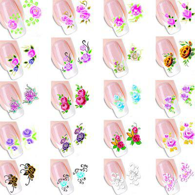 Environmental Resin Roses Manicure Nail Sticker 20pcs