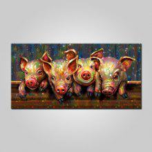 Mintura Canvas Oil Painting Pigs Hanging Wall Art