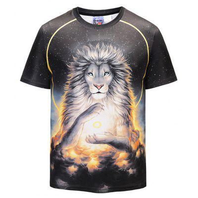 Men 3D Lion Print Leisure Round Neck Short Sleeve T-shirt