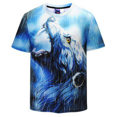 Men 3D Wolf Print Leisure Round Neck Short Sleeve T-shirt