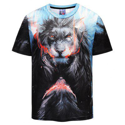 Men 3D Lion Print Round Neck Short Sleeve T-shirt
