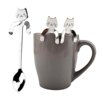 Creative Stainless Steel Cartoon Cat Hang Handle Spoon 1pc  -  SILVER