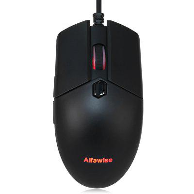 Gearbest Alfawise V10 A3050 USB Wired Gaming Mouse - BLACK Support Macro Definition RGB Backlight