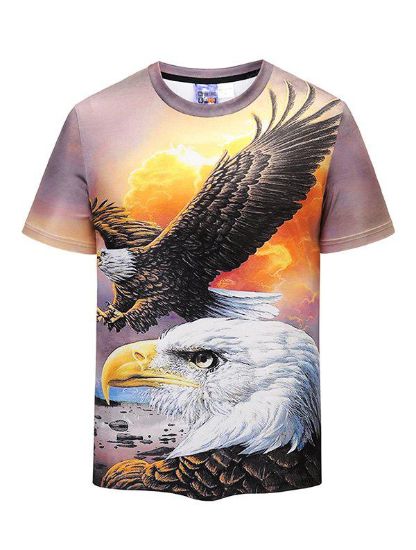 Men 3D Eagle Print Leisure Round Neck Short Sleeve T-shirt
