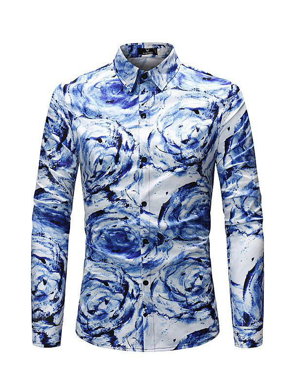 Men Stylish Abstract Print Long Sleeve Button Down Shirt