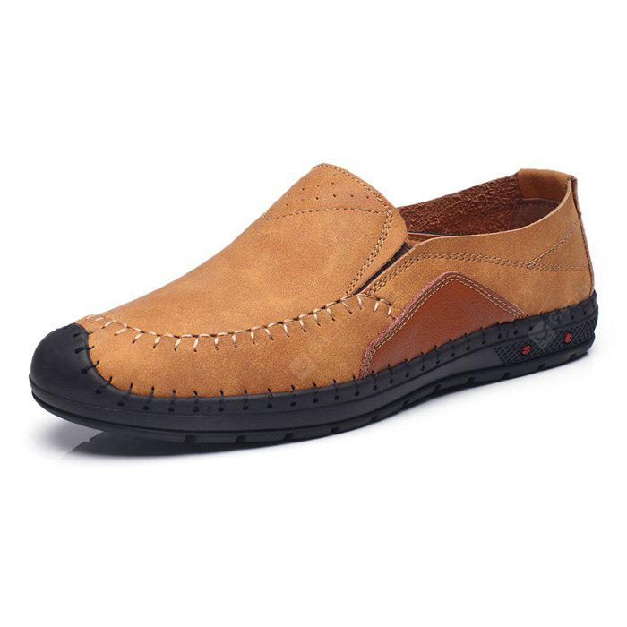 Men Vintage Soft Stitching Crash Toe Flat Loafers