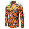 Men Stylish Print Long Sleeve Button Down Shirt - YELLOW
