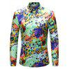 Men Stylish Letter Print Long Sleeve Button Down Shirt - LIGHT GREEN