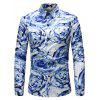 Men Stylish Abstract Print Long Sleeve Button Down Shirt - BLUE