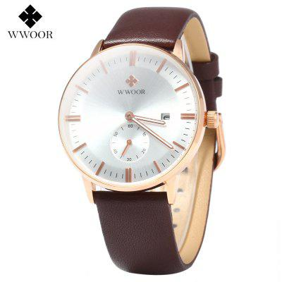 WWOOR 8808 Simple Dial Leather Band Quartz Watch for MenMens Watches<br>WWOOR 8808 Simple Dial Leather Band Quartz Watch for Men<br><br>Band material: Genuine Leather<br>Brand: WWOOR<br>Case color: Gold<br>Case material: Stainless Steel<br>Display type: Analog<br>Movement type: Quartz watch<br>Package Contents: 1 x WWOOR 8808 Quartz Watch, 1 x English Manual<br>Package size (L x W x H): 28.00 x 5.00 x 3.00 cm / 11.02 x 1.97 x 1.18 inches<br>Package weight: 0.0950 kg<br>Product weight: 0.0420 kg<br>Shape of the dial: Round<br>Special features: Day, Moving small one stitch<br>The band width: 11 mm / 0.43 inches<br>The dial diameter: 39.87 mm / 1.57 inches<br>Watch style: Fashion<br>Watches categories: Male table<br>Water resistance: 30 meters