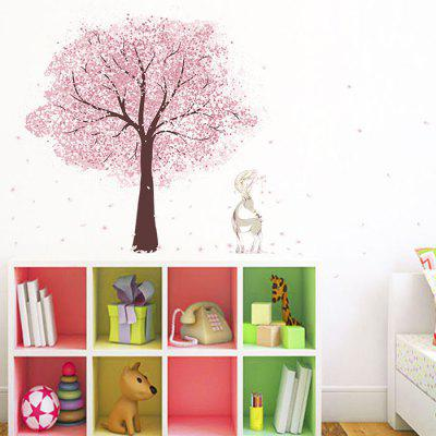 Cherry Tree and Deer Living Room TV Background Wall Sticker