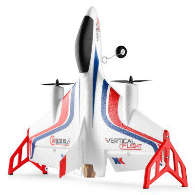 XK X520 - W 720P WiFi 6CH Brushless Vertical Stunt Fixed-wing AircraftRC Airplanes<br>XK X520 - W 720P WiFi 6CH Brushless Vertical Stunt Fixed-wing Aircraft<br><br>Brand: XK<br>Charging Time: 50 - 60 minutes<br>Compatible with Additional Gimbal: No<br>Detailed Control Distance: 150m<br>ESC Current: 20A<br>Flying Time: 10-13mins<br>Function: Height Holding, Forward/backward, Sideward flight, One Key Taking Off, One Key Landing, Level Flight<br>Length: 420mm<br>Material: EPP<br>Motor Model / RPM: 1307 brushless motor<br>Package Contents: 1 x Aircraft Toy, 1 x Remote Control, 1 x English Manual, 1 x Power Adapter + Charger, 1 x Battery, 1 x CW Propeller, 1 x CCW Propeller<br>Package size (L x W x H): 47.00 x 47.00 x 11.50 cm / 18.5 x 18.5 x 4.53 inches<br>Package weight: 0.5800 kg<br>Product size (L x W x H): 52.00 x 42.00 x 12.50 cm / 20.47 x 16.54 x 4.92 inches<br>Product weight: 0.1850 kg<br>Remote Control: 2.4GHz Wireless Remote Control<br>Takeoff Weight: 200g<br>Wingspan: 520mm