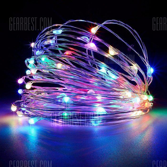 5M 50 LEDs Silver Wire Strip Lights Battery Operated
