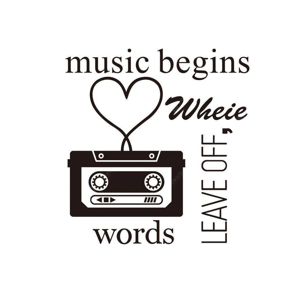 Aw9228Music Begins English Living Room Bedroom Decorated Carved Wall Sticker