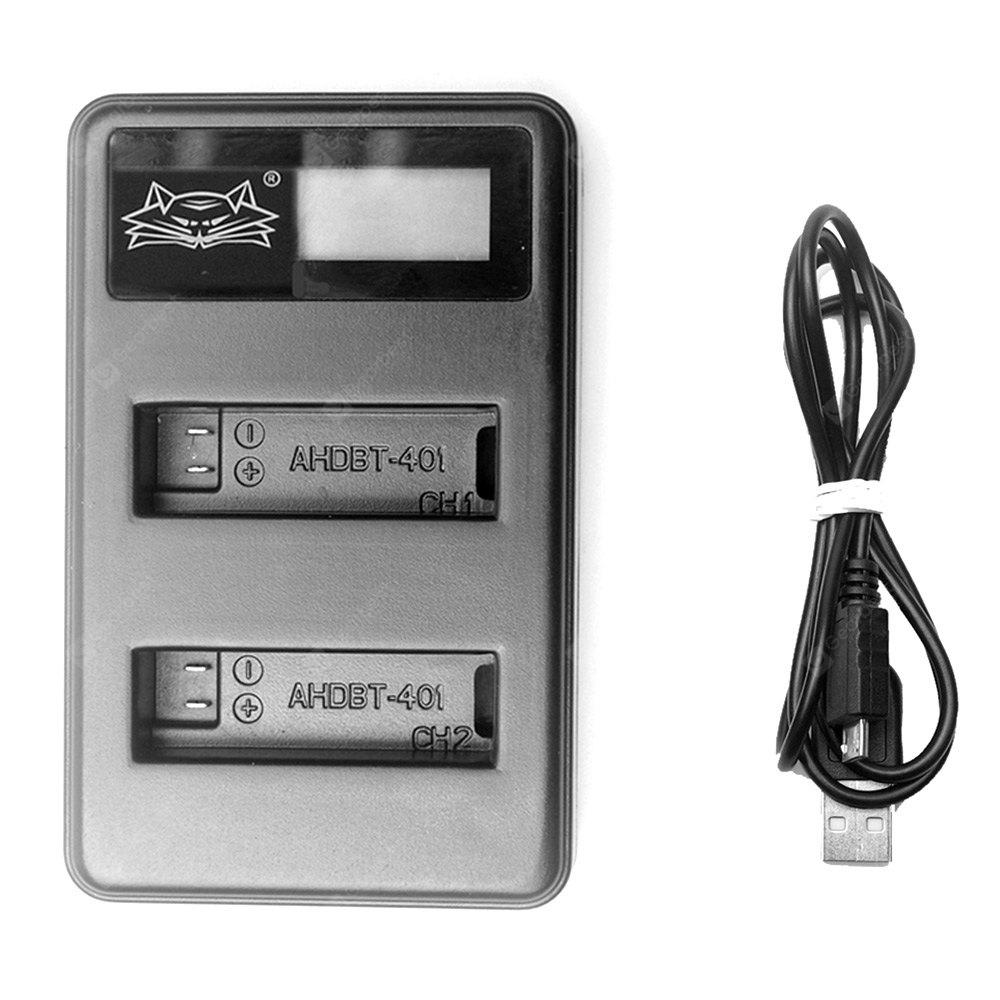 Fat Cat Smart Dual-Slot USB Hi-speed Charger with LCD Screen for GoPro Hero 4