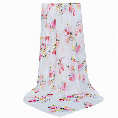 Chiffon Flower Pattern Printed Women Thin Silk Scarf