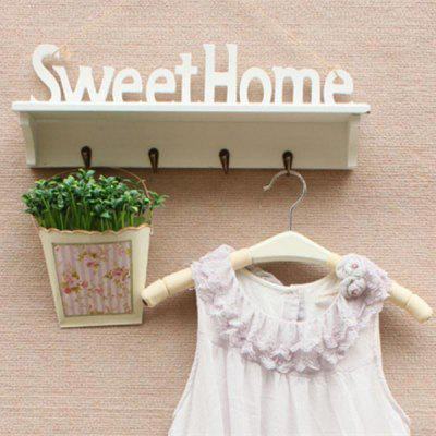 Decorative Sweet Home White Wooden Plastic Wall Hook Rack