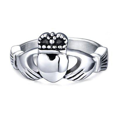 Stylish Stainless Steel Crown Heart Ring