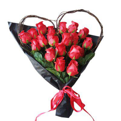 Lmdec 17FZH81 Decorative Heart-shaped Artificial Rose