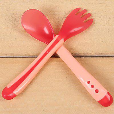 Silicone Temperature Sensitive Baby Spoon and Fork