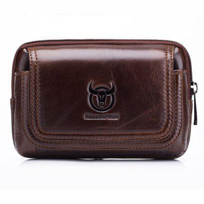 BULLCAPTAIN Leisure Leather Cellphone Waist Bag