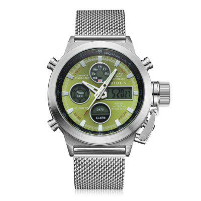 BIDEN B0031 Men Stainless Steel Band Digital Quartz Watch -  GREEN