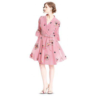 Women Flare Sleeve Floral Embroidery Wrap Dress