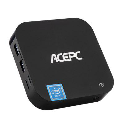 ACEPC T8 Mini PC Intel Z8350 / Windows 10Mini PC<br>ACEPC T8 Mini PC Intel Z8350 / Windows 10<br><br>5G WiFi: No<br>Audio format: AAC, WMA, WAV, MP3, M4A, FLAC, OGG, APE<br>Bluetooth: Support<br>Brand: ACEPC<br>Core: Quad Core<br>CPU: Intel Cherry Trail Z8350<br>Decoder Format: H.265, H.264<br>GPU: Intel Gen 8-LP<br>HDMI Version: 1.4<br>Interface: DC Power Port, USB3.0, USB2.0, TF card, RJ45, Micro USB, HDMI, 3.5mm Audio<br>Language: English<br>Max. Extended Capacity: TF card up to 64GB (not included)<br>Other Functions: Others<br>Package Contents: 1 x Mini PC, 3 x Power Adapter ( US / UK / EU ), 1 x HDMI Cable, 1 x Mini PC, 3 x Power Adapter ( US / UK / EU ), 1 x HDMI Cable<br>Package size (L x W x H): 17.00 x 11.10 x 5.50 cm / 6.69 x 4.37 x 2.17 inches, 17.00 x 11.10 x 5.50 cm / 6.69 x 4.37 x 2.17 inches<br>Package weight: 0.3850 kg, 0.3850 kg<br>Photo Format: JPEG, TIFF, PNG, GIF, BMP<br>Power Consumption.: 10W<br>Power Supply: Charge Adapter<br>Power Type: External Power Adapter Mode<br>Processor: Intel Z8350<br>Product size (L x W x H): 9.60 x 9.60 x 2.00 cm / 3.78 x 3.78 x 0.79 inches, 9.60 x 9.60 x 2.00 cm / 3.78 x 3.78 x 0.79 inches<br>Product weight: 0.1780 kg, 0.1780 kg<br>RAM: 2G RAM<br>RAM Type: LPDDR3<br>RJ45 Port Speed: 100Mbps<br>ROM: 32G ROM<br>Support 5.1 Surround Sound Output: No<br>System: Windows 10<br>System Bit: 64Bit<br>Type: Mini PC<br>Video format: VP9, VC-1, RMVB, RM, MPEG4, WMV, MKV, MPEG2, MPEG1, VOB, MP4<br>WIFI: 802.11 a/b/g/n<br>WiFi Chip: 8723BS