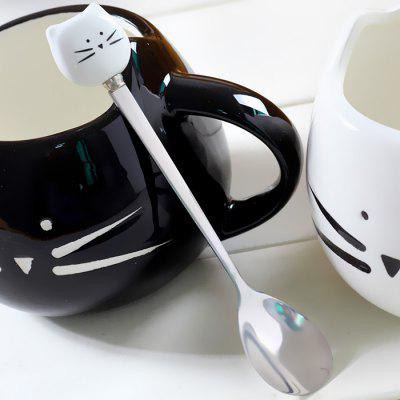 Creative Stainless Steel Cartoon Cat Ceramic Handle Spoon 1pc