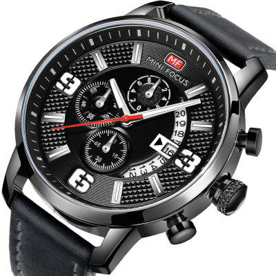 MINI FOCUS MF0025G Trendy Leather Band Quartz WatchMens Watches<br>MINI FOCUS MF0025G Trendy Leather Band Quartz Watch<br><br>Band material: Leather<br>Band size: 24.9 x 2.2cm<br>Brand: MINI FOCUS<br>Case material: Alloy<br>Clasp type: Pin buckle<br>Dial size: 43.5 x 43.5 x 12.7cm<br>Display type: Analog<br>Movement type: Quartz watch<br>Package Contents: 1 x Watch<br>Package size (L x W x H): 26.90 x 6.35 x 3.27 cm / 10.59 x 2.5 x 1.29 inches<br>Package weight: 0.0900 kg<br>Product size (L x W x H): 24.90 x 4.35 x 1.27 cm / 9.8 x 1.71 x 0.5 inches<br>Product weight: 0.0700 kg<br>Shape of the dial: Round<br>Special features: Date, Working sub-dial<br>Watch style: Cool, Fashion, Outdoor Sports<br>Watches categories: Men<br>Water resistance: 30 meters