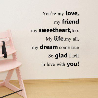 Removable Waterproof English Love Quote Wall Sticker