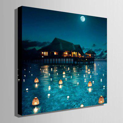 E - HOME Water Cabin Print LED Luminous Canvas Wall PaintingPrints<br>E - HOME Water Cabin Print LED Luminous Canvas Wall Painting<br><br>Brand: E-HOME<br>Craft: Print<br>Form: One Panel<br>Material: Canvas<br>Package Contents: 1 x Print<br>Package size (L x W x H): 45.00 x 6.00 x 6.00 cm / 17.72 x 2.36 x 2.36 inches<br>Package weight: 1.0000 kg<br>Painting: Without Inner Frame<br>Product weight: 0.8000 kg<br>Shape: Square<br>Style: Modern, Amazing<br>Subjects: Still Life<br>Suitable Space: Bedroom,Cafes,Corridor,Game Room,Hotel,Living Room,Study Room / Office