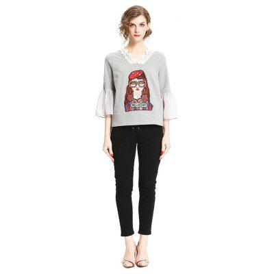 Buy GRAY L Fashion T-shirt with Girl Embroidery Motifs for $29.42 in GearBest store