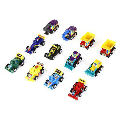 Mini Assorted Pull Back Construction Vehicles Racer Cars 12pcs  -  COLORMIX