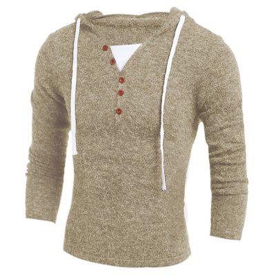 Men Stylish Splicing Long Sleeves Hooded Sweater