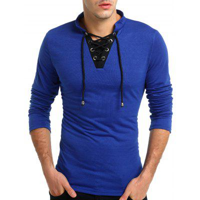 Men Stylish Drawstring Lace-up Long Sleeve T-shirt