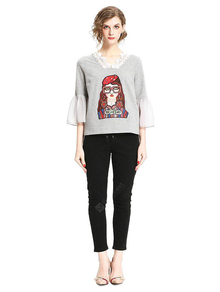 GRAY L Fashion T-shirt with Girl Embroidery Motifs