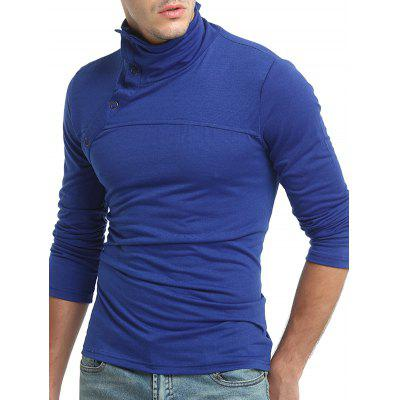 Buy SAPPHIRE BLUE M Men Leisure Funnel Neck Long Sleeve T-shirt for $13.45 in GearBest store