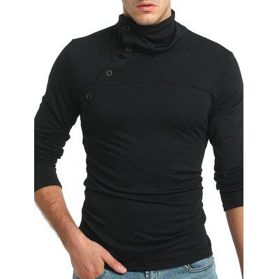 Men Leisure Funnel Neck Long Sleeve T-shirt